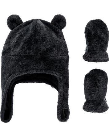 KOMBI Velboa Hat & Mitten Set