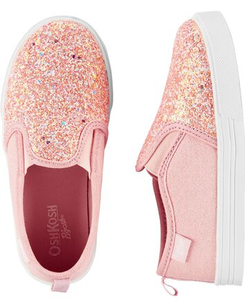 Pink Glitter Slip-On Shoes