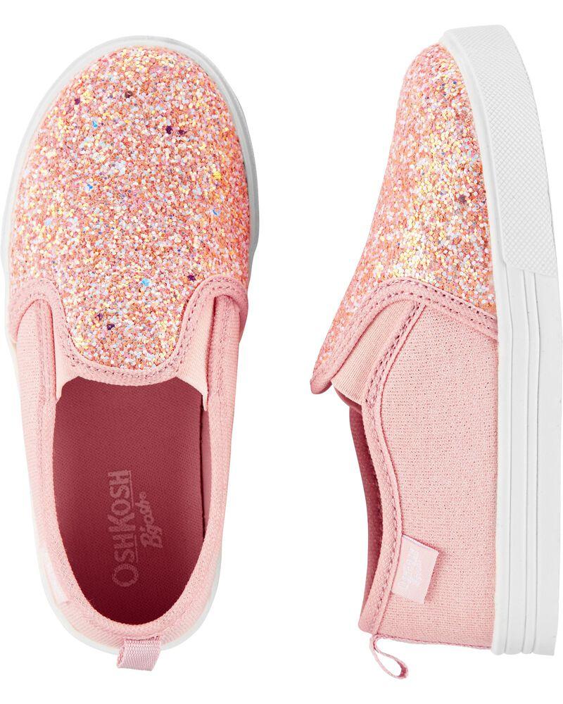 Pink Glitter Slip-On Shoes, , hi-res