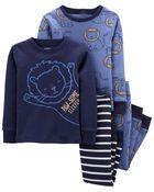 4-Piece Lion 100% Snug Fit Cotton PJs, , hi-res