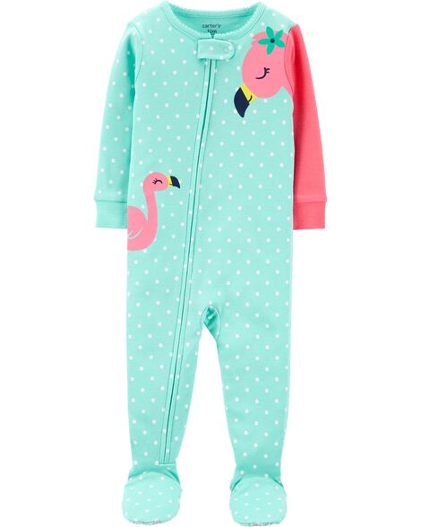 Pyjama 1 pièce avec pieds en coton ajusté à motif flamant