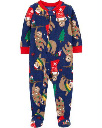 1-Piece Christmas Fleece Footie PJs