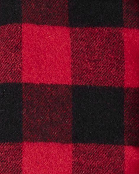 2-Piece Buffalo Check Button-Front Top & Denim Pant Set
