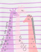 Pyjama 4 pièces en coton ajusté motif girafe, , hi-res