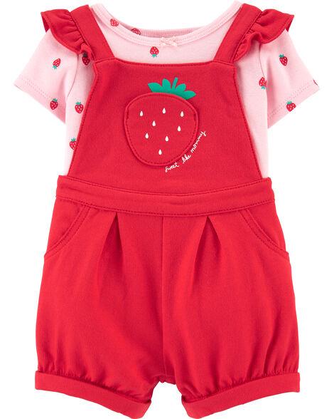 2-Piece Tee & Strawberry Shortalls Set