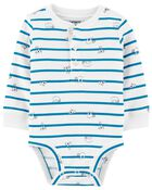 Striped Animal Henley Bodysuit, , hi-res
