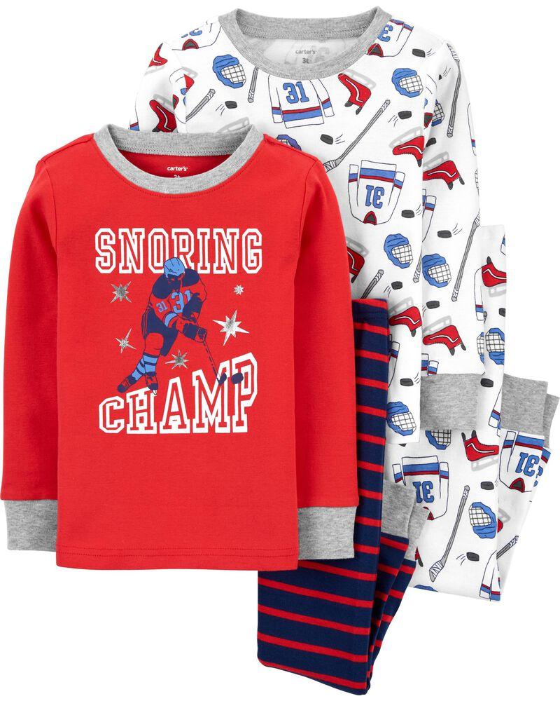 4-Piece Snoring Champ 100% Snug Fit Cotton PJs, , hi-res