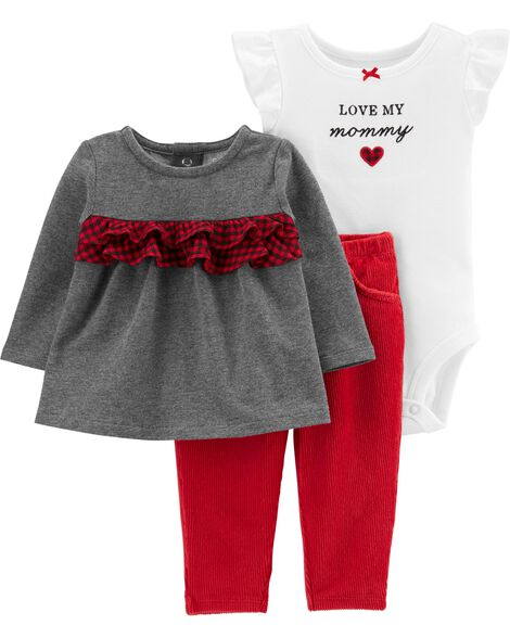 3-Piece Holiday Bodysuit & Pant Set