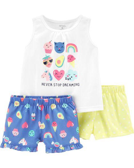 Pyjamas 3 pièces en polyester à émoji