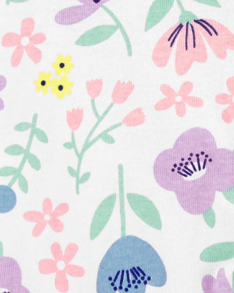Grenouillère en coton fleuri à glissière 2 sens, , hi-res