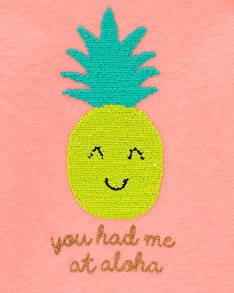Neon Flip Sequin Pineapple Cold Shoulder Slub Top