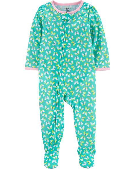 1-Piece Butterfly Poly Footie PJs
