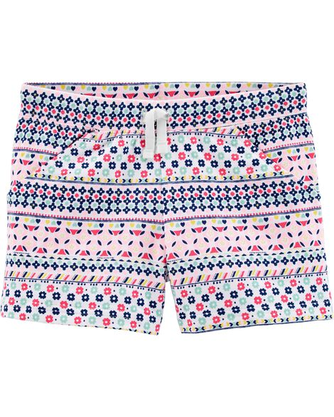 Patterned Pull-On French Terry Shorts