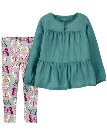 2-Piece Tiered Top & Butterfly Legg...