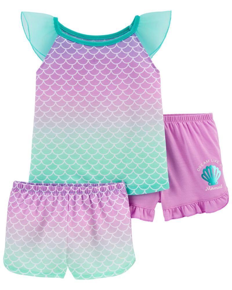 3-Piece Mermaid Loose Fit Poly PJs, , hi-res