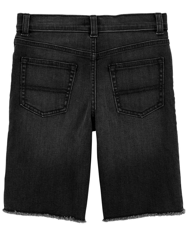 Short en tricot de denim à délavage noir Vintage, , hi-res