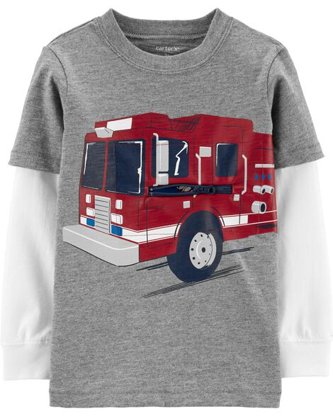 Firetruck Layered-Look Slub Tee