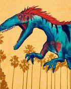 T-shirt en jersey chiné à motif de dinosaure, , hi-res