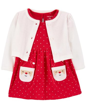 2-Piece Holiday Bodysuit Dress & Ca...