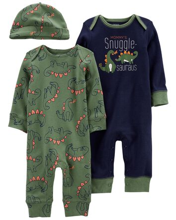 3-Pack Jumpsuits & Cap Set