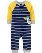 Pyjama 1 pièce sans pieds en coton ajusté à motif goéland, , hi-res