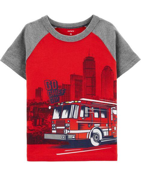 T-shirt raglan à camion d'incendie