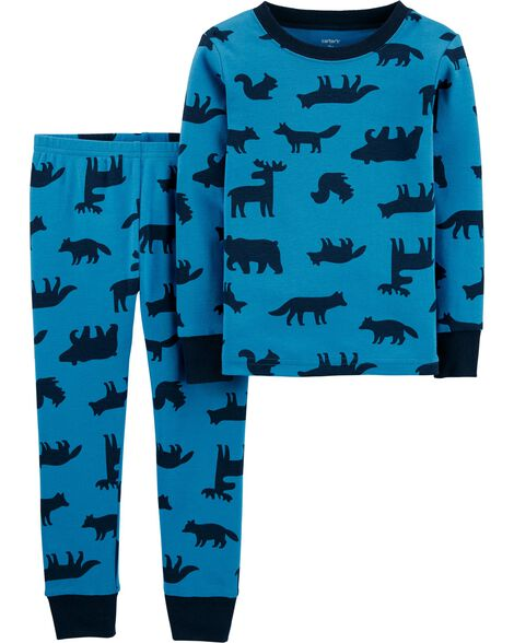 2-Piece Woodland Creatures Snug Fit Cotton PJs