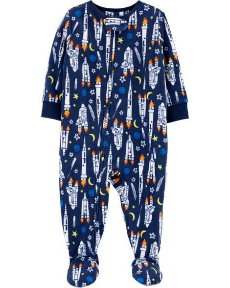 1-Piece Rocket Fleece PJs