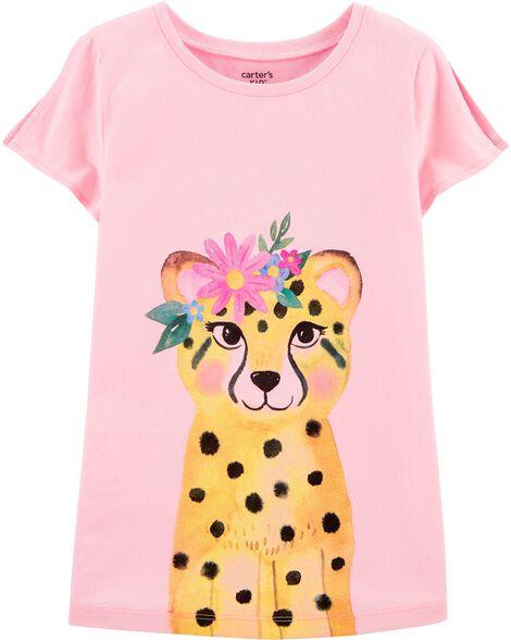 Floral Leopard Split Shoulder Jersey Tee