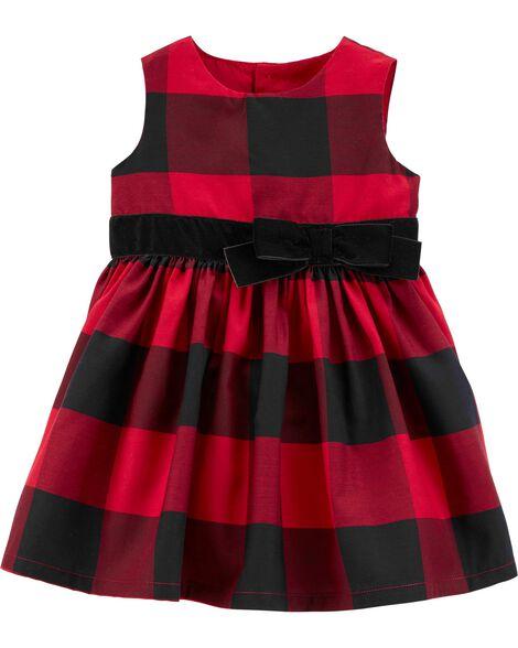 Buffalo Check Sateen Holiday Dress