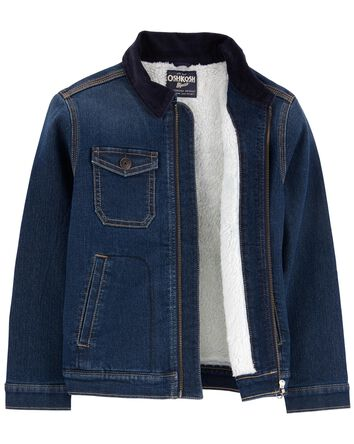 Sherpa-Lined Knit Denim Jacket