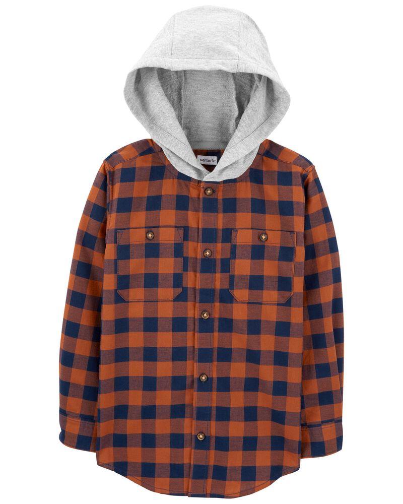Chemise boutonnée à motif écossais et capuchon., , hi-res