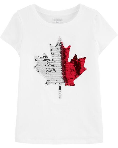 T-shirt à feuille d'érable Fête du Canada avec paillettes