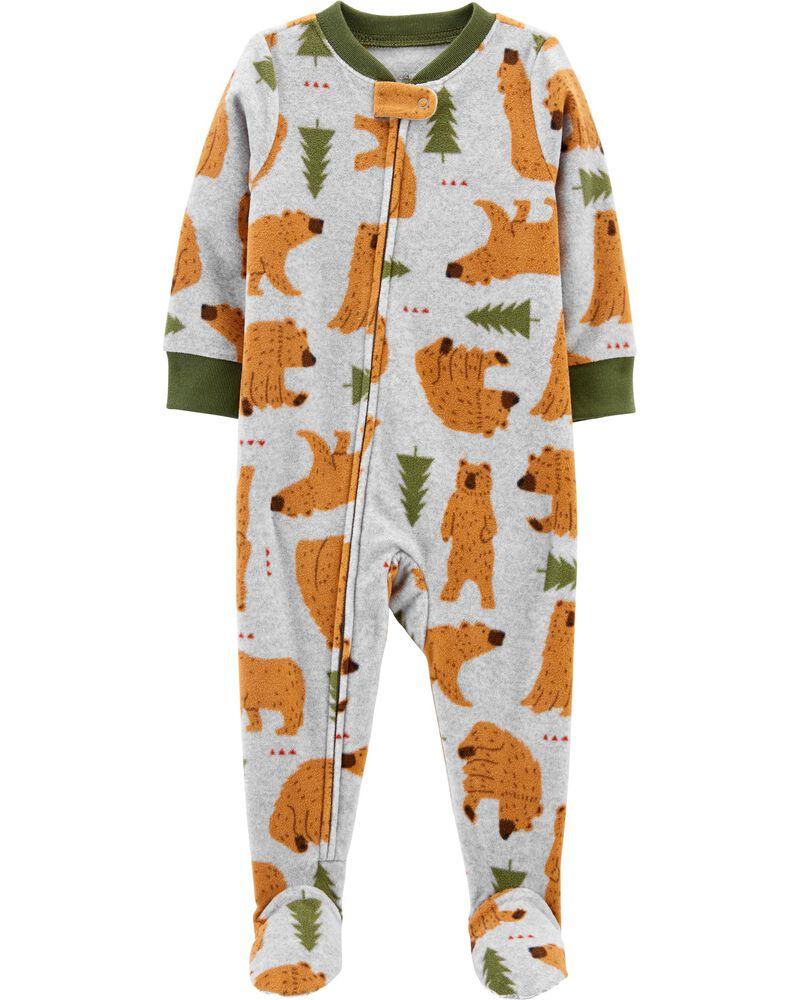 1-Piece Bear Fleece Footie PJs, , hi-res