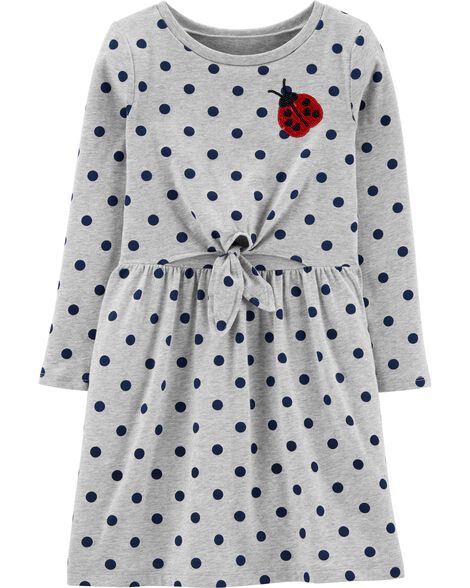 Sequin Ladybug Polka Dot Jersey Dress