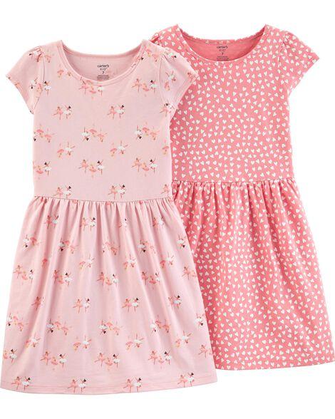 Emballage de 2 robes en jersey à ballerines et cœurs
