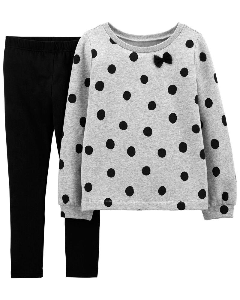 2-Piece Polka Dot Fleece Top & Legging Set, , hi-res