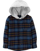 Hooded Flannel Shirt, , hi-res