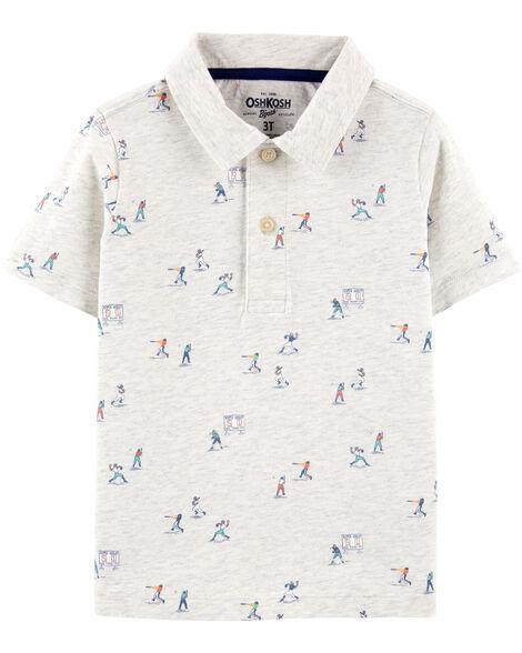 Polo en jersey à motif baseball