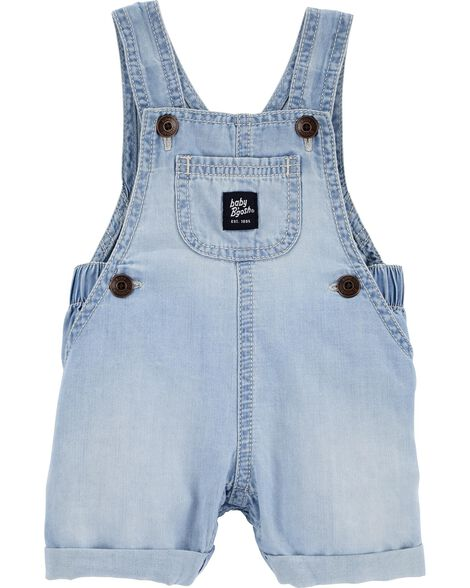 Salopette courte en chambray