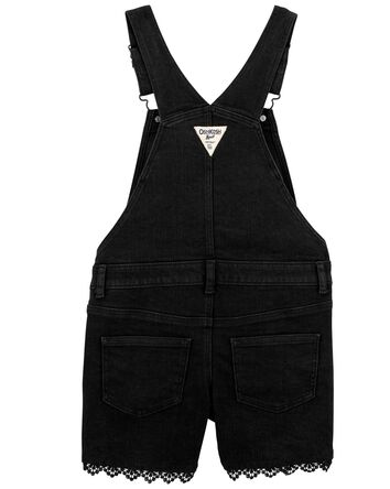 Knit Denim Shortalls in Black Enzym...