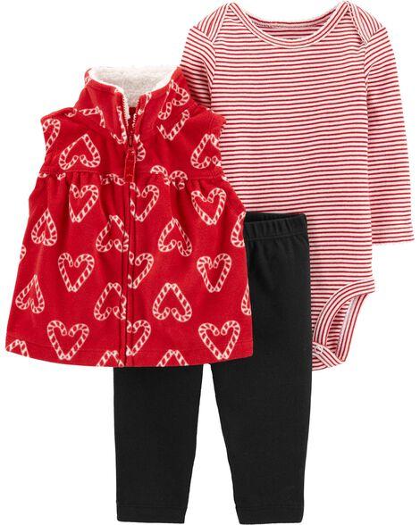 3-Piece Candy Cane Little Vest Set