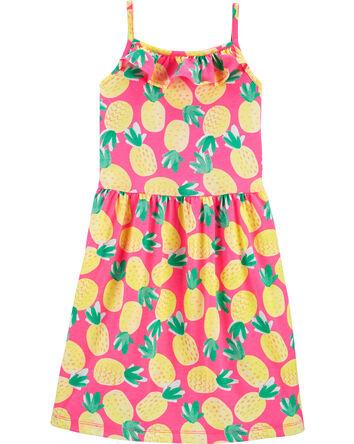 Pineapple Ruffle Tank Jersey Dress