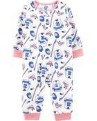 Pyjama 1 pièce en molleton sans pieds motif hockey, , hi-res