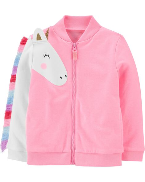 Neon Unicorn Zip-Up French Terry Jacket