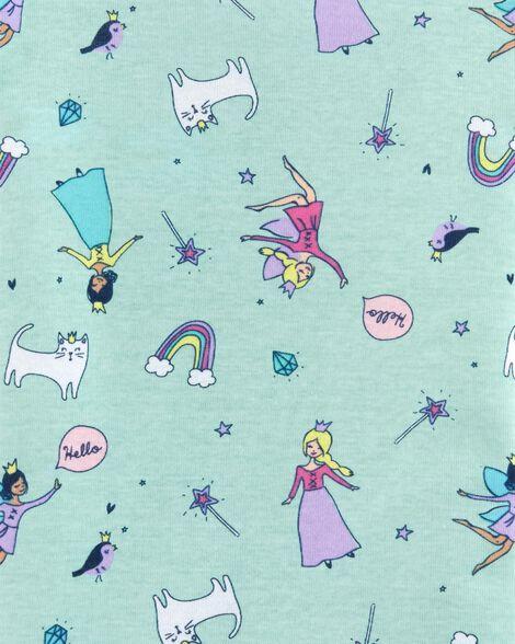 Pyjama 4 pièces en coton ajusté motif fée