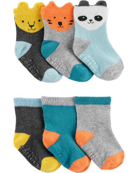 Emballage de 6 paires de chaussettes à animaux et de couleurs contrastantes