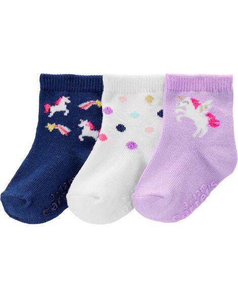 3 paires de chaussettes mi-mollet à licorne
