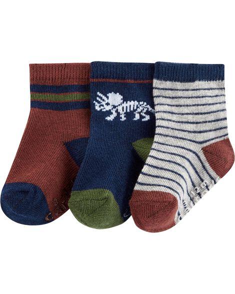 3-Pack Dino Stripe Crew Socks