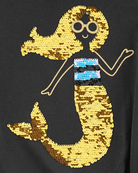 T-shirt asymétrique sirène à paillettes réversibles